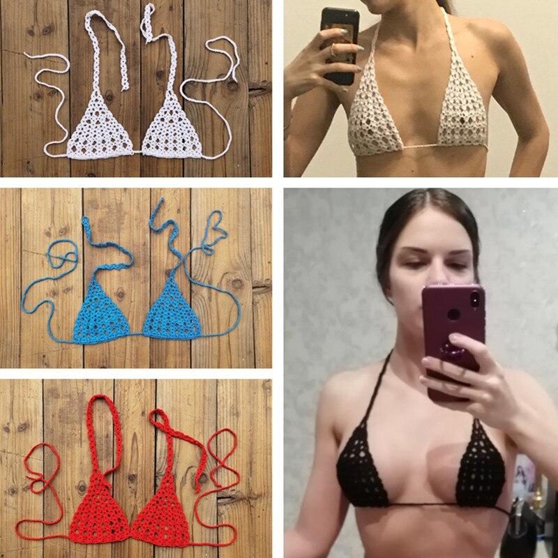 13 colores mano Crochet Micro parte superior traje de baño Sexy Mini Bikini tomar el sol de algodón