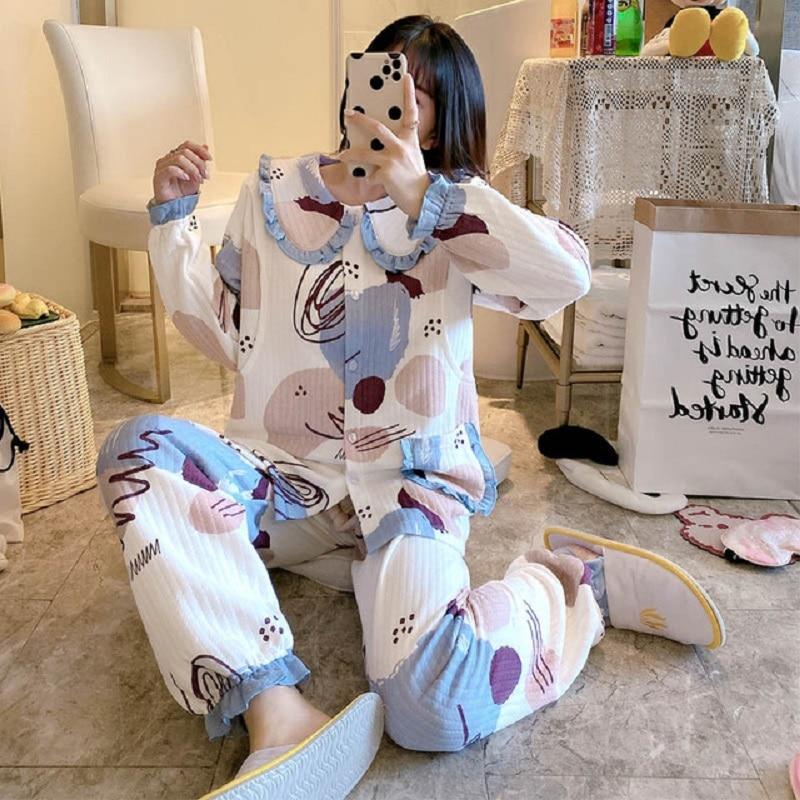 Maternity/Nursing wear warm lady Homewear Soft  Breast feeding Pajama Set Autumn/spring/winter Pregnancy air layer Sleep Wear enlarge