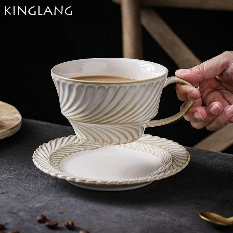 Copo de Leite Café da Manhã Kinglang Novo Vintage Artesanal Folha Aro Caneca Xícara Café Pires Conjunto Casal