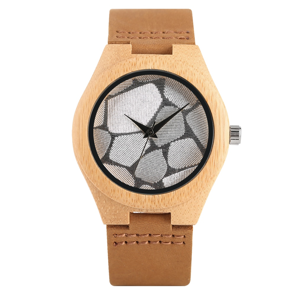 Women Wristwatch Quartz Wooden Watch Special Dial Wooden Watches for Ladies Leather Band with Pin Buckle Wristwatch for Females enlarge