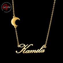 Goxijite mode personnalisé nom collier avec lune pour les femmes personnalisé en acier inoxydable lettre nom tour de cou colliers cadeau