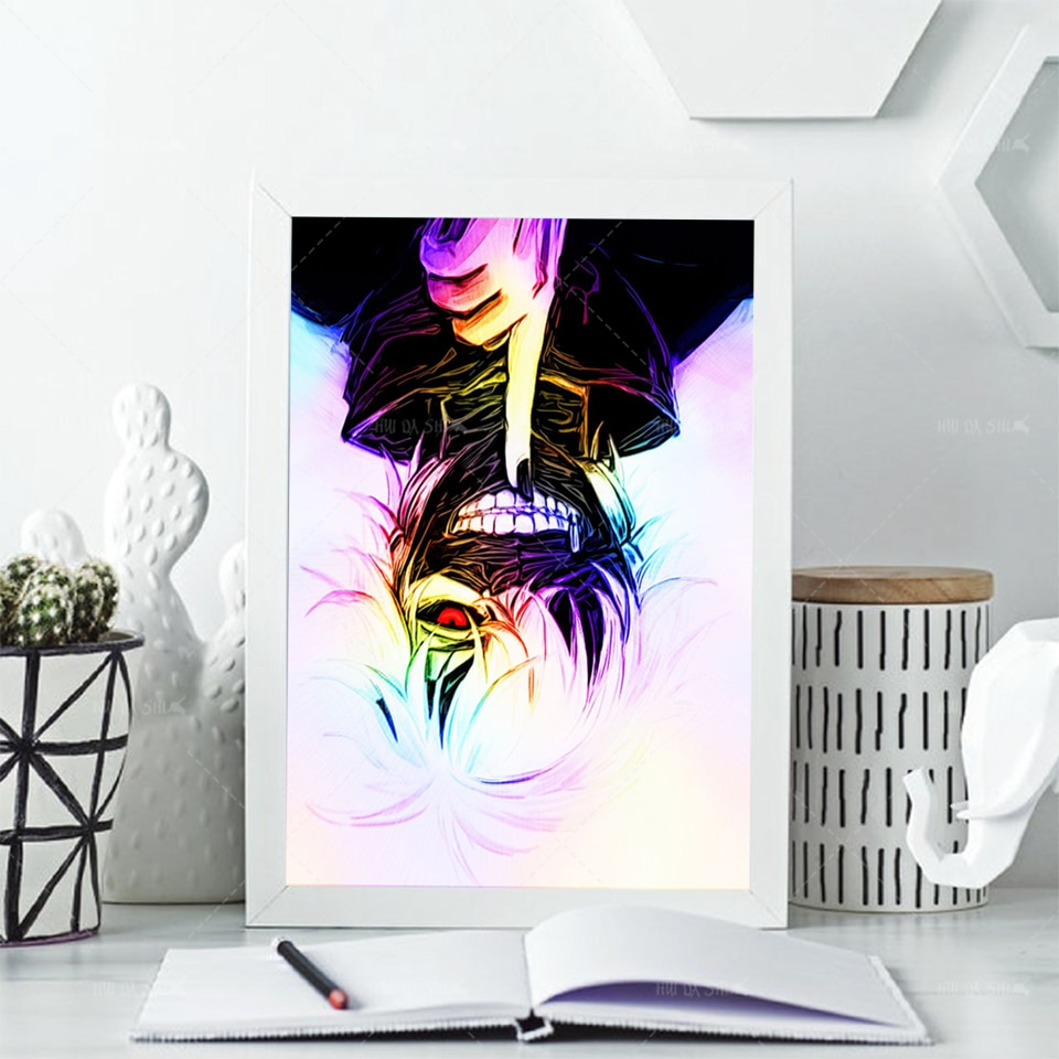 Póster nórdico e impresiones, lienzo de arte de pared, Anime Tokyo Ghoul Kaneki, cuadro de lienzo, marco de pintura de Chico, dormitorio, sala de estar, lona de pared de Anime