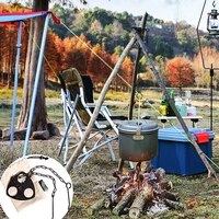 portable camping picnic tripod hanging pot bracket bbq rack hanger stainless steel tripod for hanging pot