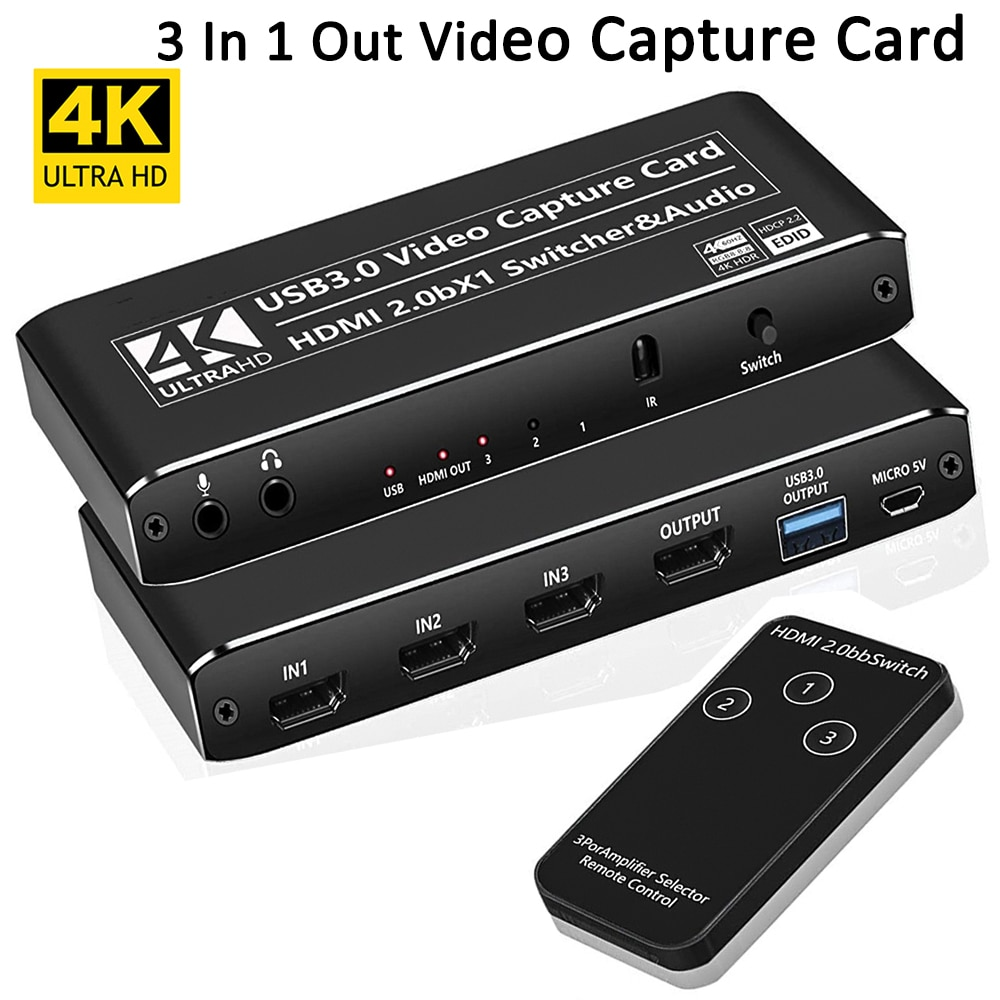 4K@60fps Hdmi 2.0 Switch Splitter Game Capture Card USB 3.0 Video Capture Card Hdmi Switch 3 In 1 Out for Game Live Streaming