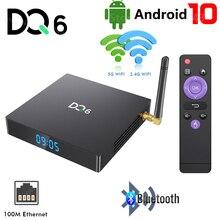 DQ6 Android 10.0 TV Box 4GB RAM 32GB 64GB ROM 2.4G 5G MIMO WiFi lecteur multimédia RK3318 4K HD Bluetooth décodeur intelligent 2GB 16GB