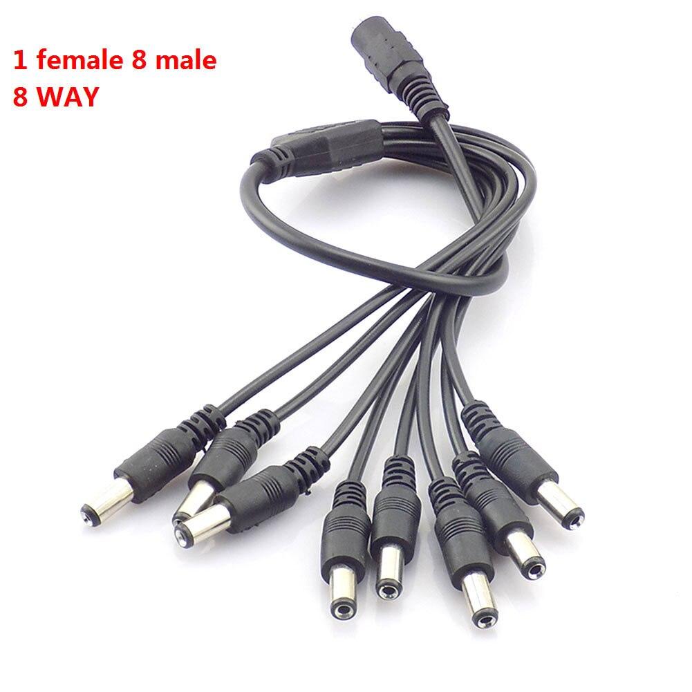 1 Uds 12V DC 1 hembra a 8 hombre camino del Cable...
