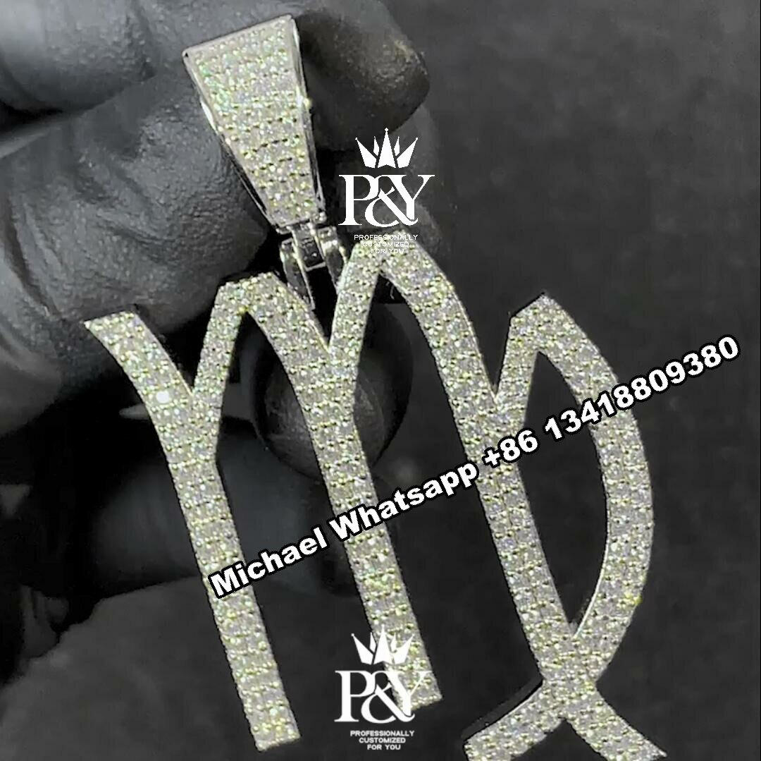 P&Y Custom Hip Hop Full Iced Out S925 Moissanite Diamond Letter With Customized Logo Pendant Necklace For Men Women