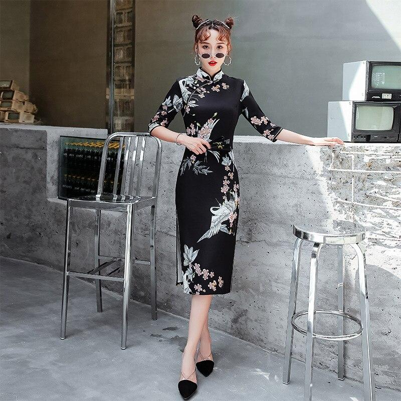 2020 ملاحظة فستان صيني شيونغسام قطن تشيباو فستان صيني مثير