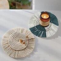cotton braid coaster handmade macrame cup cushion bohemia style non slip cup mat heat insulation table mat coffee cup coaster