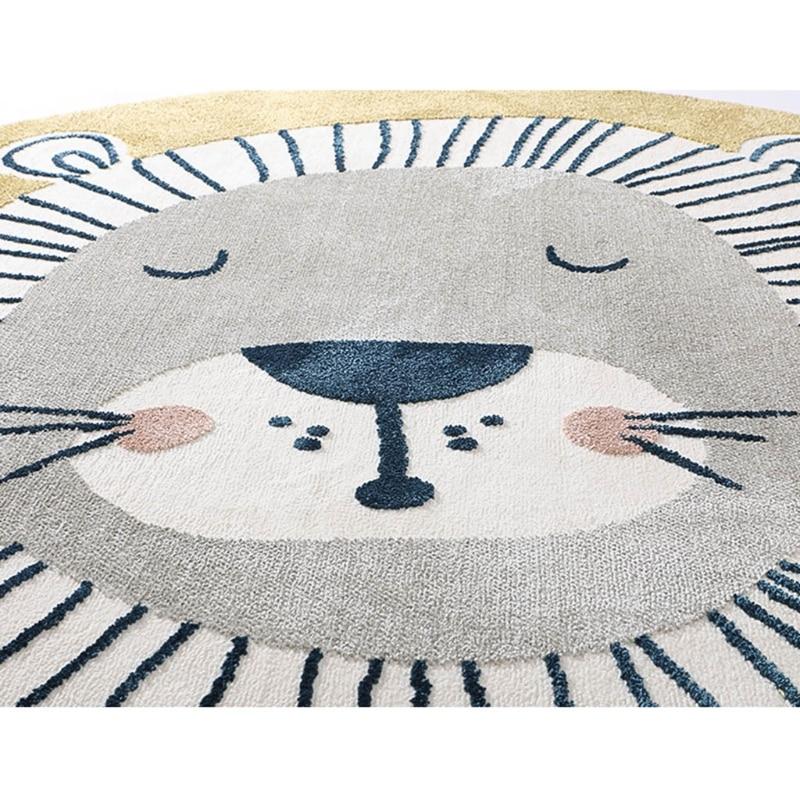 Baby Play Mat Crawling Carpet Kids Room Floor Rug Round Cartoon Lion Printed Pad