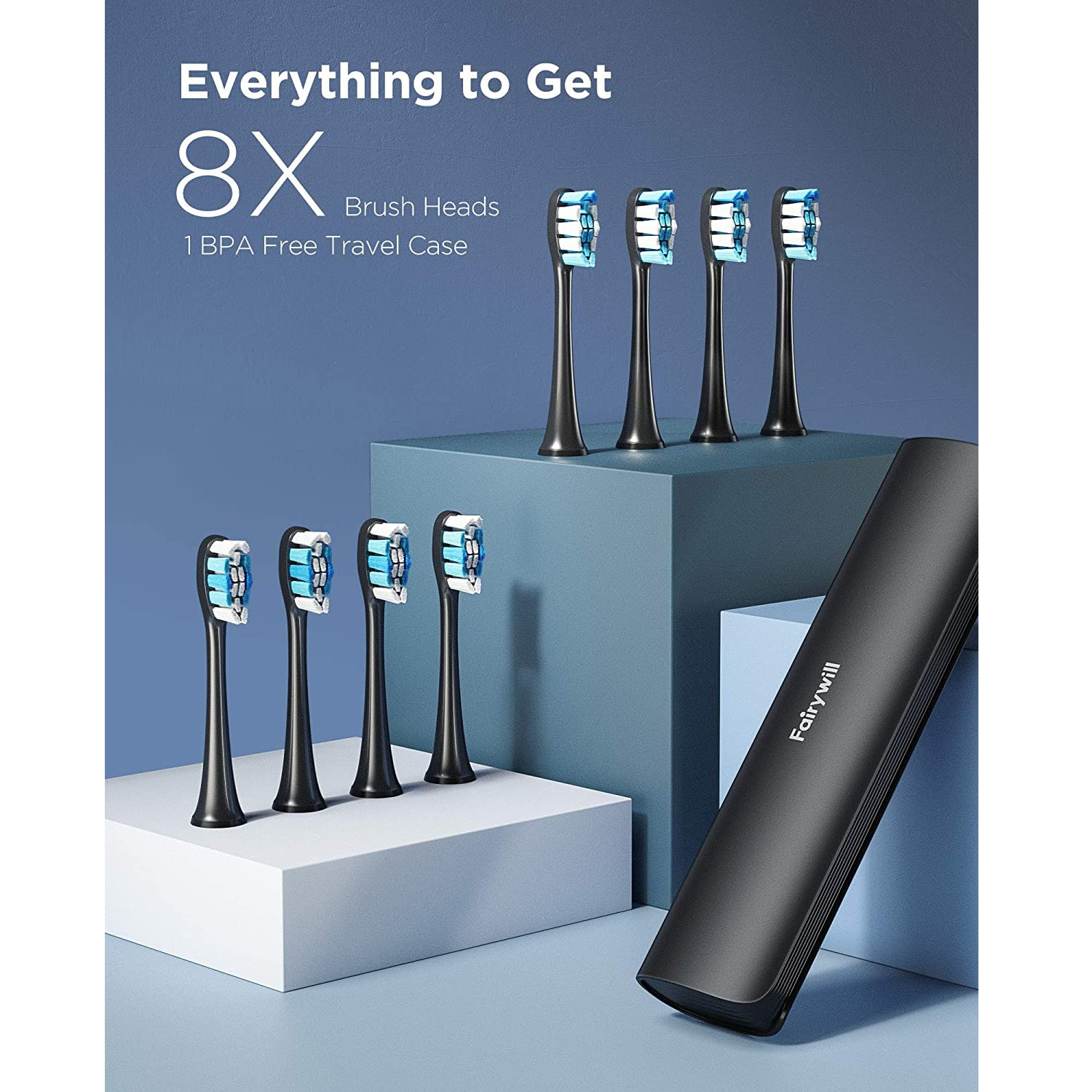 Fairywill Electric Toothbrush P80 Smart Timer Quiet IPX7 Waterproof Fast Charging 8 Replacement Heads 5 Modes with Travel Case enlarge