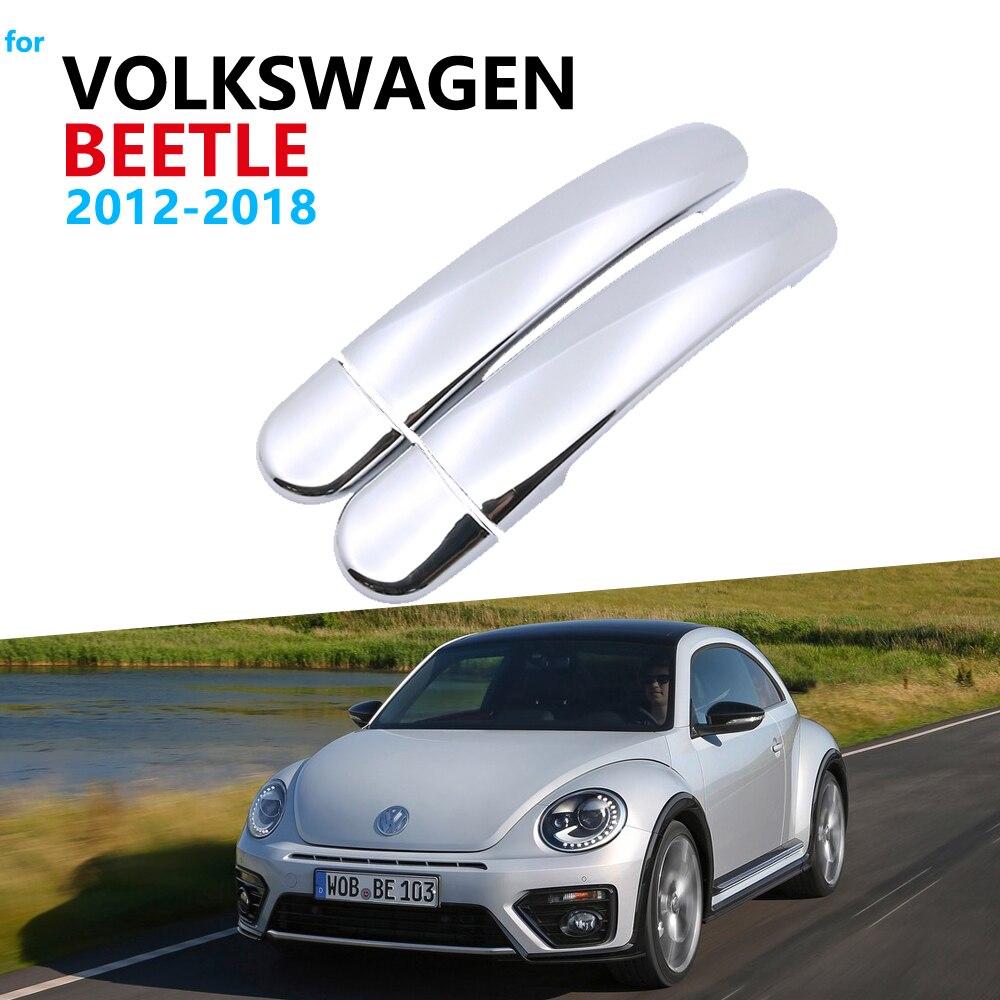 Manija de puerta accesorios de coche para Volkswagen VW Beetle nuevo 2012 de escarabajo 2018 2016 moldura de cubierta de manija cromada Set pegatinas de coche 2017
