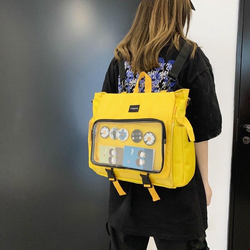 Женский школьный рюкзак для девочек-подростков, новый модный прозрачный студенческий рюкзак с надписью, милый Вместительный рюкзак, лето ...