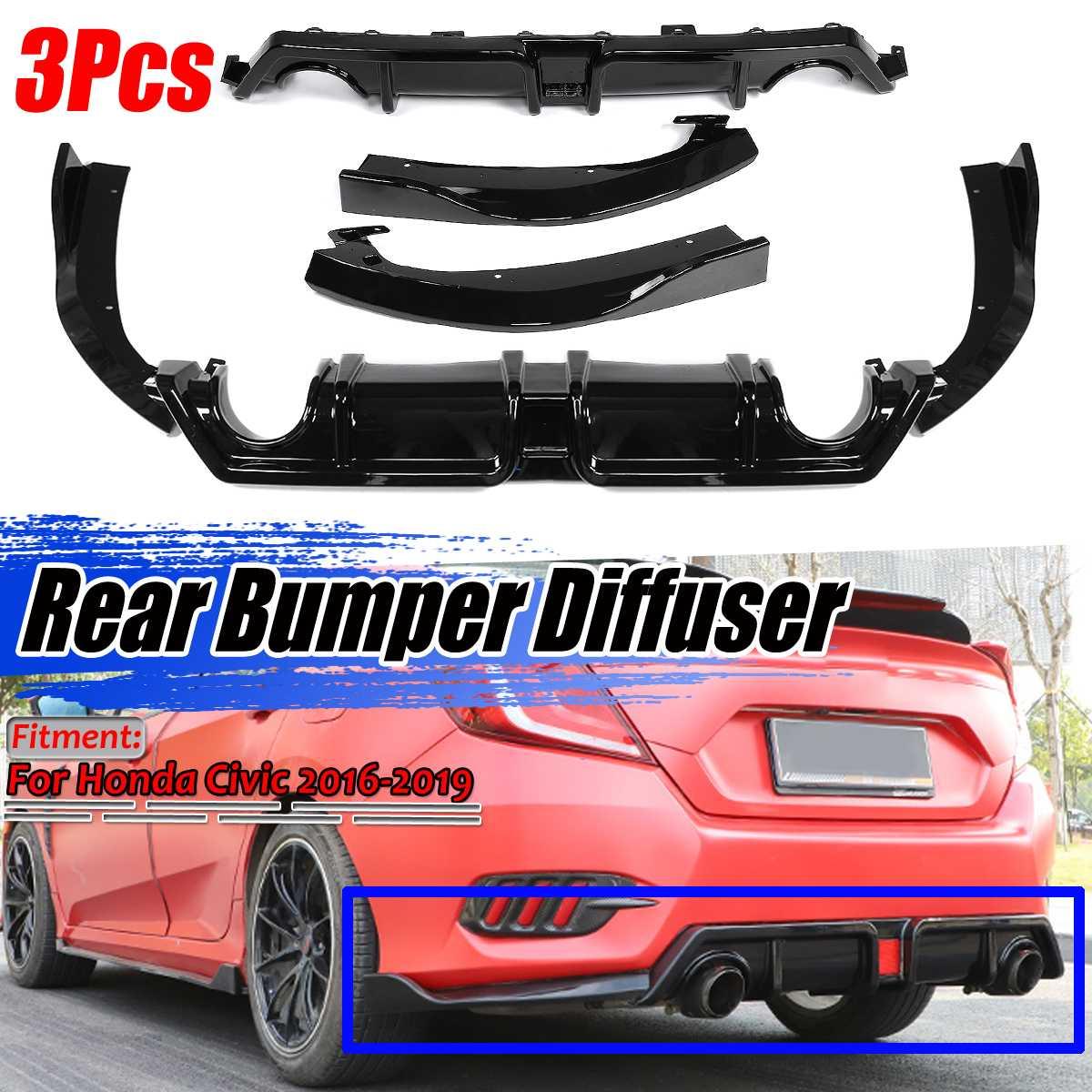 New 3Pcs Carbon Fiber Look / Black Car Rear Bumper Diffuser Splitter Lip Spolier Guard Protection For Honda For Civic 2016-2019