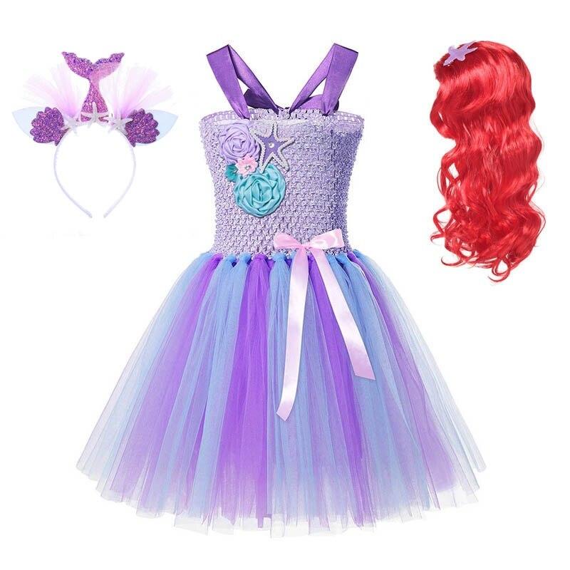 MUABABY Girl Princess Mermaid Tutu Dress Kids Crochet Tulle Strap Ball Gown Children Ariel Ribbon Fancy Dress Up Costume Clothes