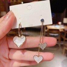 New White Resin Heart Drop Earrings for Women Trendy Rhinestone Long Hanging Earrings Korean Jewelry