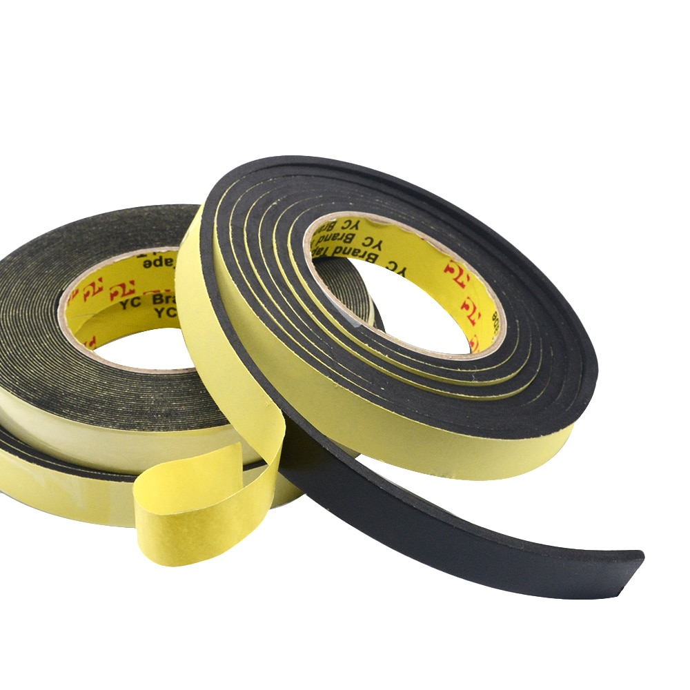 5M Foam Sponge Rubber Strip Tape 3mm Thickines Single Sided Adhesive Waterproof Weather Stripping Wi