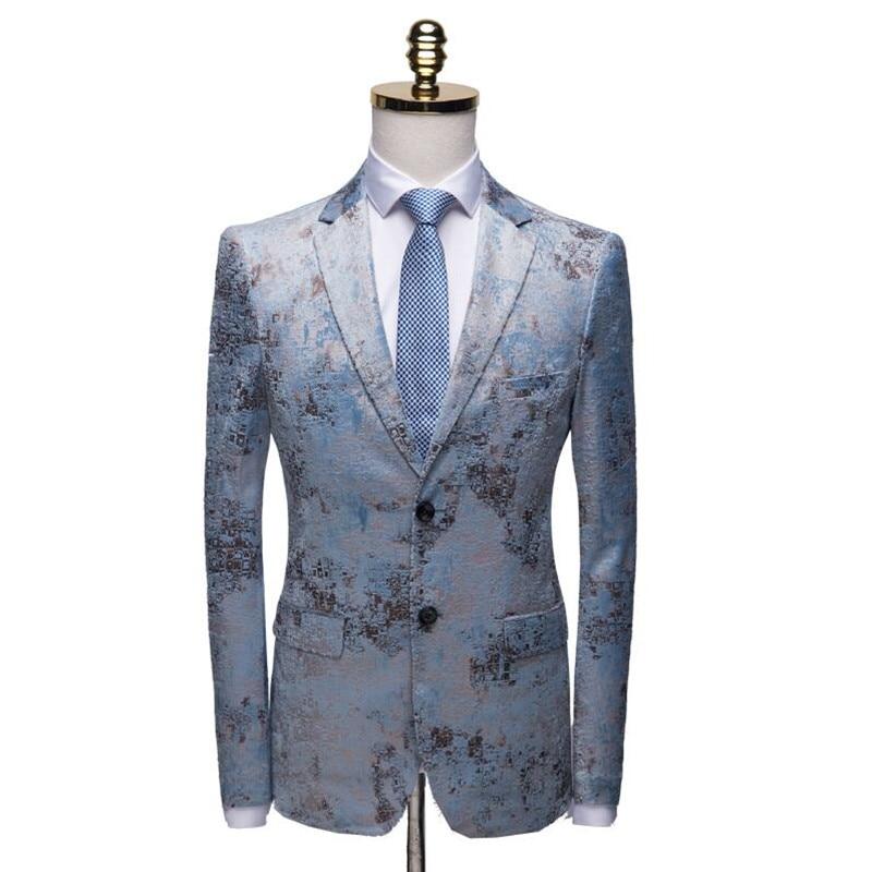 Mens fashion Dance Blazer Coats 2019 Male pattern Business affairs Wedding Stage Long sleeve Suit Jackets Slim coat M-4XL