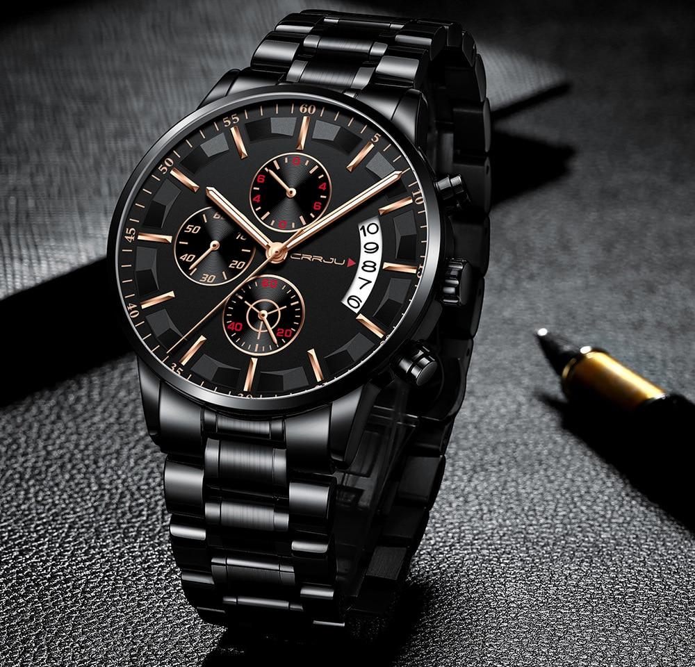 Crrju ka jun 2261, reloj deportivo para hombre, reloj de cuarzo multifuncional de seis pines a prueba de agua con luz nocturna