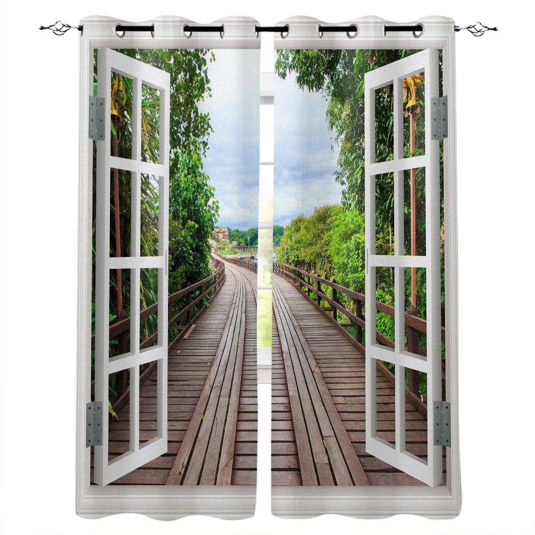 Janelas de madeira ponte cenário árvores plantas modernas cortinas de luxo sala estar banheiro cozinha produtos domésticos