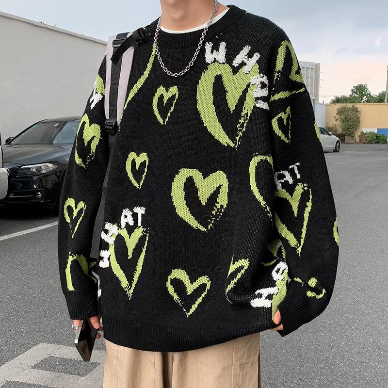 Privathinker كبيرة الحجم تريكو القلب الجرافيك الهيب هوب الرجال عادية Harajuku الشارع الشهير سترة دافئة بلوزات على الموضة ملابس البلوفرات
