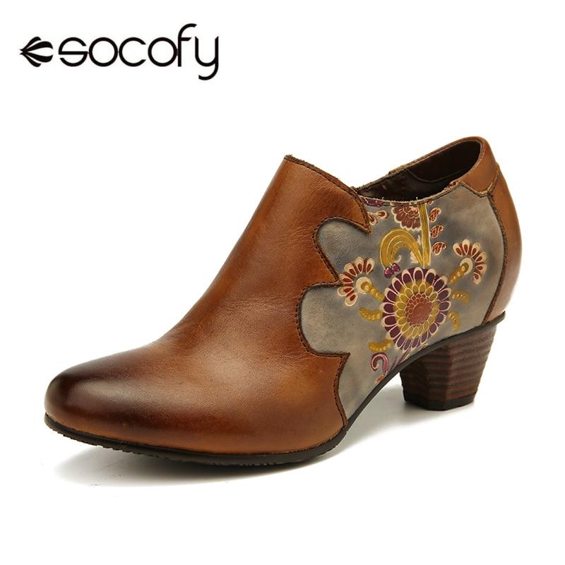 SOCOFY-حذاء نسائي من الجلد الأصلي مع سحاب ، حذاء ريترو أنيق ، نمط الأزهار ، مخيط ، 2020