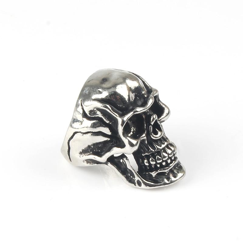 Retro Silver Devil Crack Splitting Skull Rings Women Men Handmade Punk Rock Locomotives Skulls Fashion Ring Jewelry