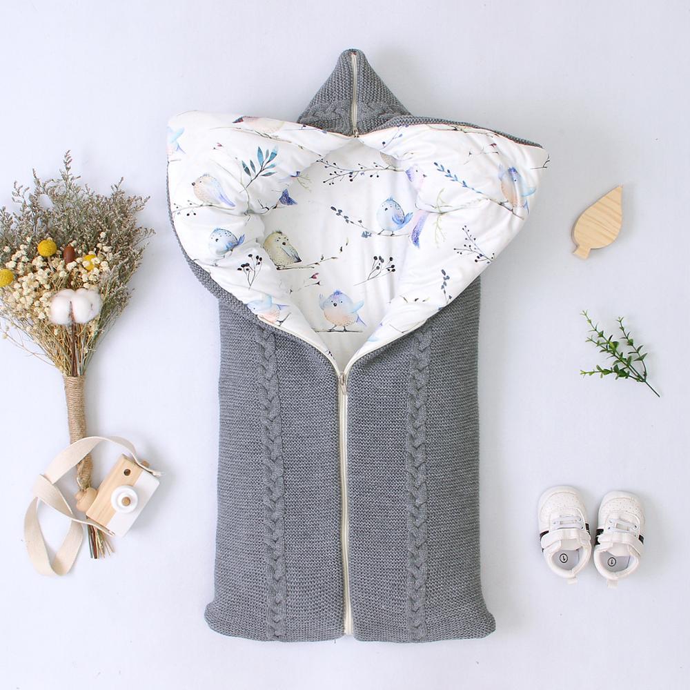 Baby Sleeping Bag Envelopes Winter Infant Stroller Sleepsacks Solid Tthick Warm for Newborn Swaddle Wrap 75*35cm Knitted Blanket