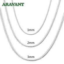 Collar de cadena de serpiente para hombre y mujer, de plata 925 de 1MM/2MM/3MM, collares de plata, joyería de moda