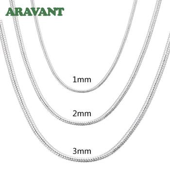 Collier chaîne serpent en argent 925 pour hommes et femmes, bijoux à la mode, 1MM/2MM/3MM