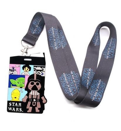 Nuevo 1 Uds. Caricatura star wars tarjeta Correa cuello cordones insignia titular cuerda colgante llavero accessories