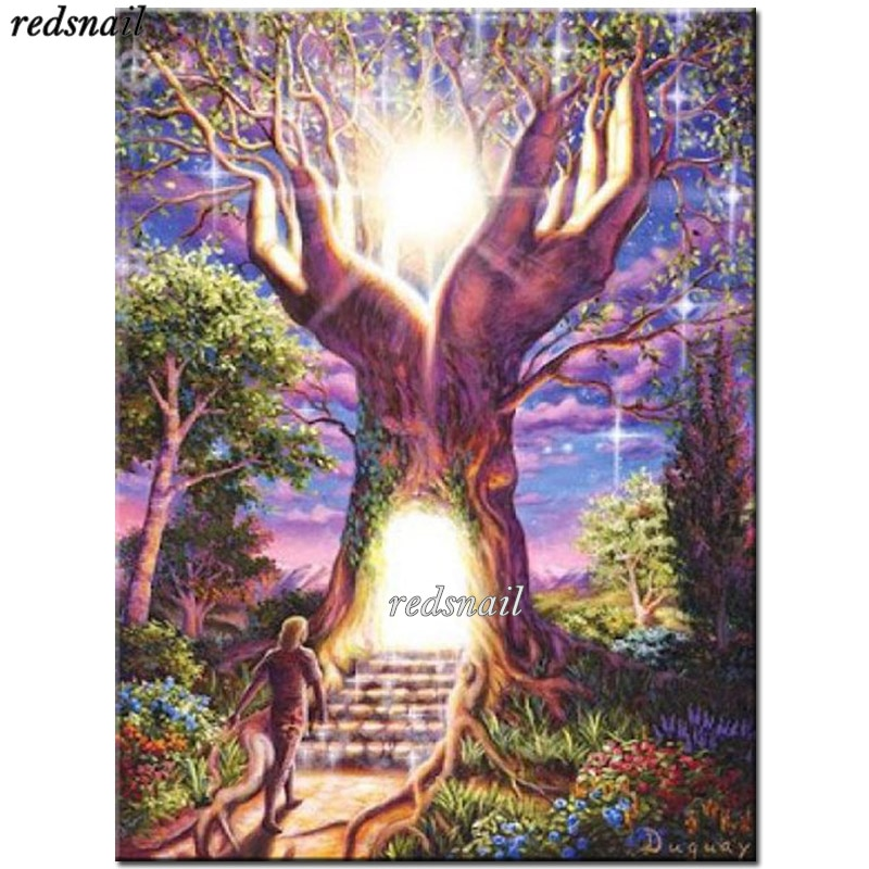 Diamond Embroidery 5D DIY Diamond Painting tree of Life Full Mosaic Cross Stitch Rhinestone Wall Art buddha Painting YY1950