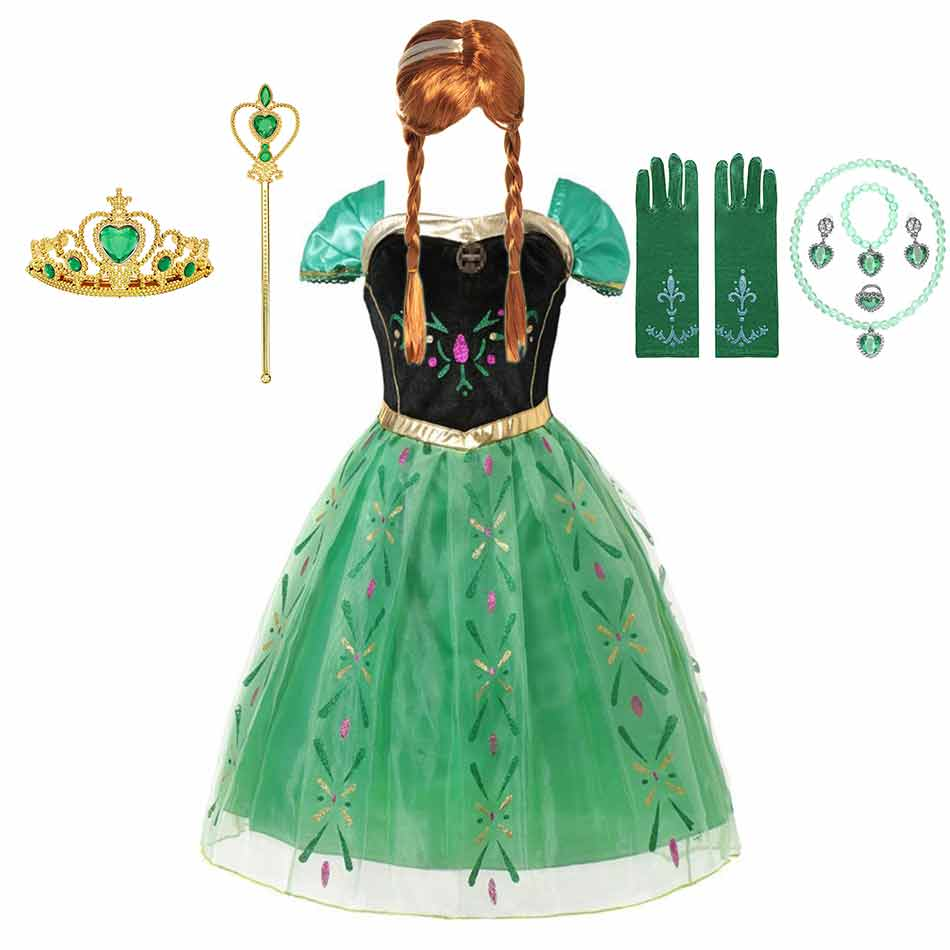 Disney Princess Anna Dress up for Girls Frozen Fever Anna Green Tulle Frocks Kid Cosplay Party Wear Floral Gown Carnival Costume