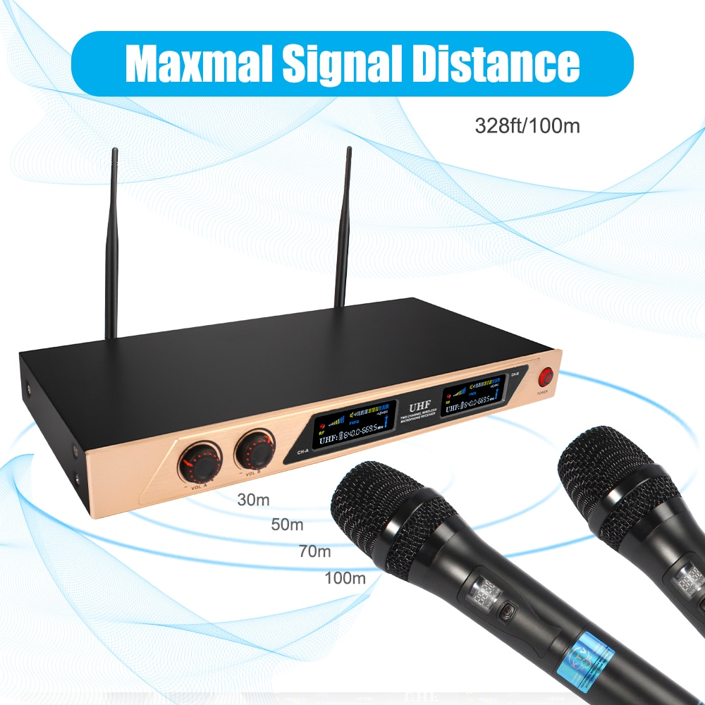 UHF Wireless Microphone System Dual Channel Handheld Wireless Microphone with Rechargeable Receiver for Karaoke Singing Wedding enlarge