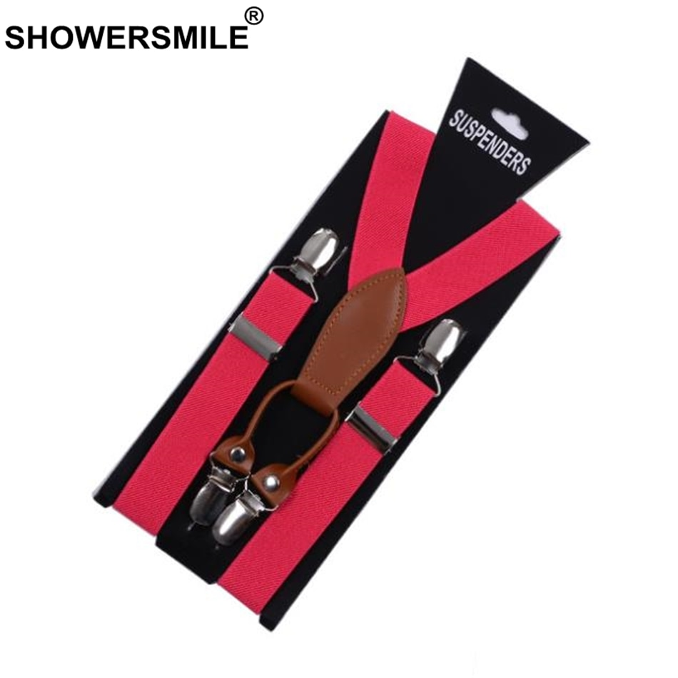 SHOWERSMILE Famale Suspenders Women Leather Red Trousers Strap 4 Clips Woman Braces Adult Gift For Girl Friend Solid Tirantes