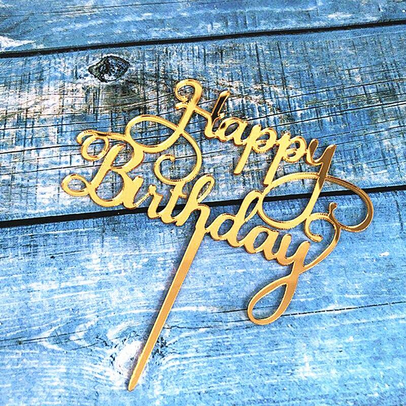 1 pieza de nuevo adorno acrílico para pastel de feliz cumpleaños, Cupcake de oro plateado para niños, cumpleaños, adornos de pastel de fiesta, Baby Shower