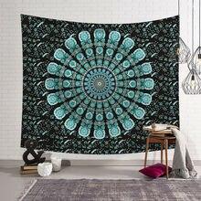 Tapisserie de ponçage en Textile maison 95x73cm   Rideau de porte en tissu de Table suspendu au mur de Mandala indien, tapisserie de décoration de dortoir fait à la main