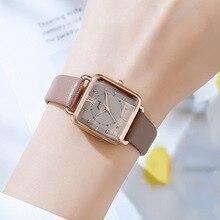 Mode rétro carré montre femmes frais étanche en cuir ceinture Quartz montre-bracelet de luxe marque cadeau pour les femmes Relojes Para Mujer