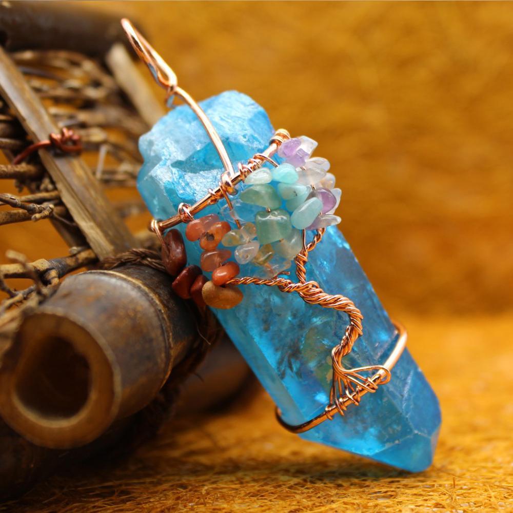 قلادة شجرة الحياة من الحجر الطبيعي Merkaba ، قلادة الطاقة الريكي الأورغون للتأمل ، صناعة المجوهرات ، 12 قطعة