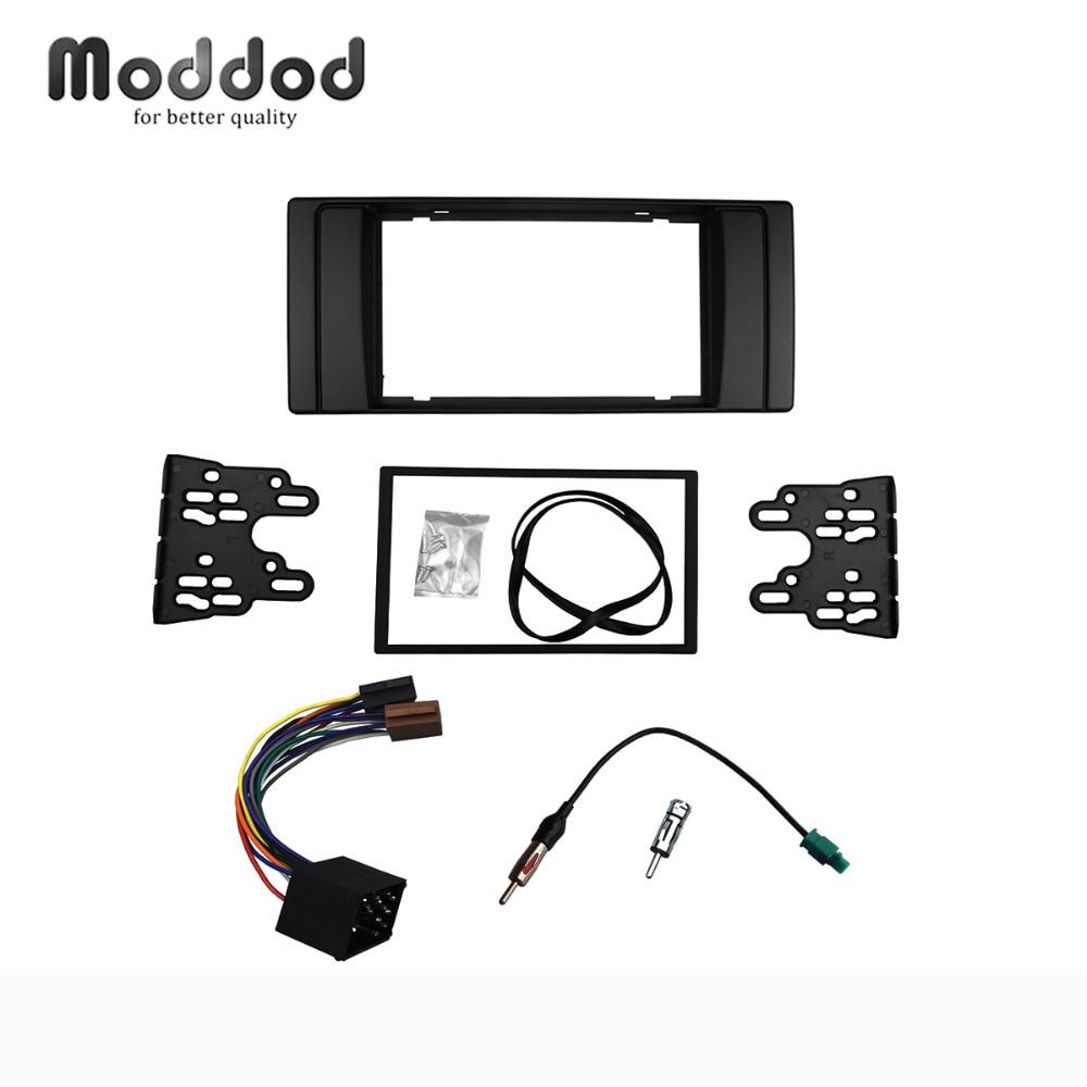 Für BMW Serie 5 E53 E39 Radio DVD Stereo-Panel Dash Doppel Din Fascia Trim Kit Rahmen mit Kabelbaum antenne Antenne Adapter