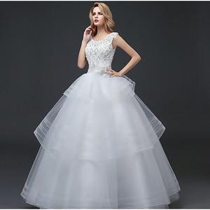 New Beads Appliques Empire Wedding Dress Sleeveless Elegant Pleat Tiered Floor-Length O-Neck Plus Size Women Wedding Gowns G014