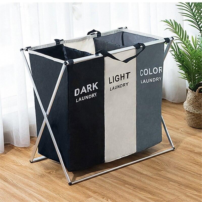 SKTN Dirty Clothes Storage Basket Three Grid Organizer Basket Collapsible Large Laundry Hamper Water