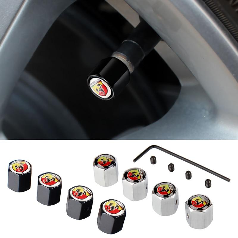 Estilo de coche, tapas de vástago de válvulas para neumático, cubierta antirrobo para Abarth Fiat 500 Punto Stilo Bravo Ducato Freemont 124 600 Panda Ege
