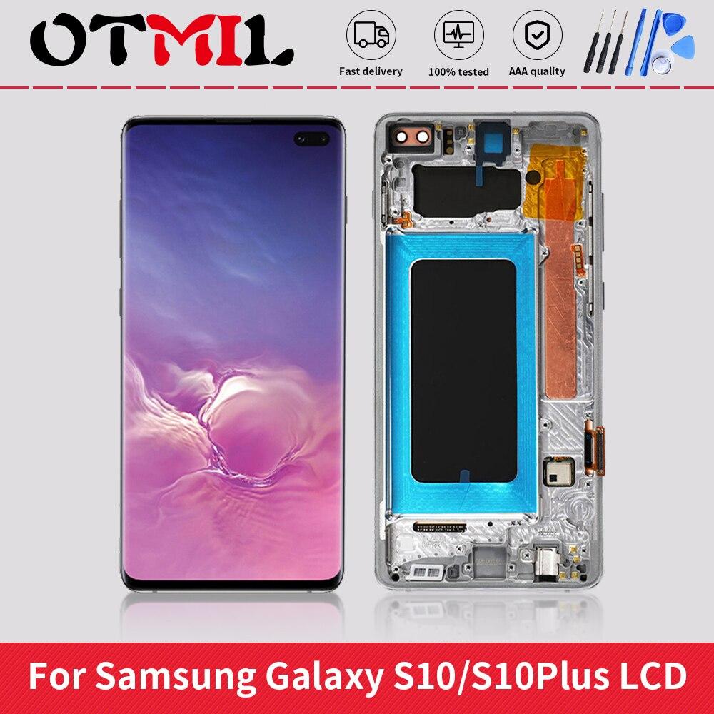 سوبر أموليد لسامسونج غالاكسي S10 زائد شاشة LCD مع الإطار ل SM-G975F/DS G975A G973U1 S10 شاشة LCD حرق كبير الظل
