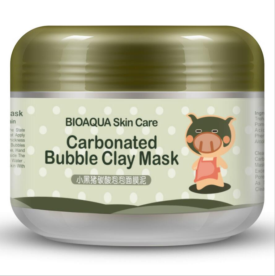 100G Black Pig Carbonated Bubble Face Mask Clay Facial Mask Deep Pore Clean Whitening Skin Moisturizer Anti Aging Skin Care onespring black small pig face mask whitening anti aging black mask moisturizing oil control whitening facial mask skin care