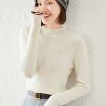 Wool Sweater Women Round Neck Wool Knitted Long Sleeves Short Casual Warm Pullover Jacket Ladies Win