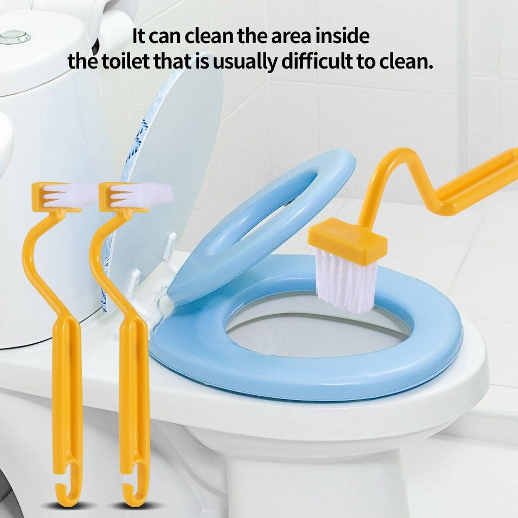 1Pcs Portable Toilet Cleaning Brush Bending Handle Scrubber Curved V Shape Toilet Brush Corner Bathroom Cleaning Accessories недорого