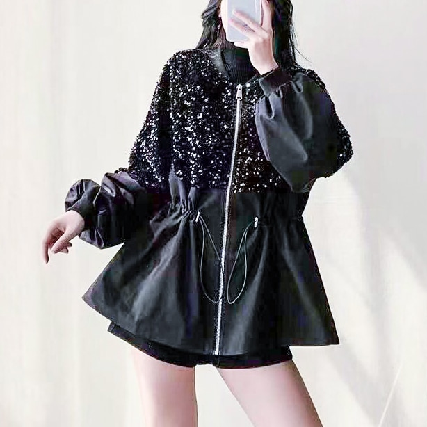 Tide top jacket women 2021 new sequin stitching loose thin short spring and autumn  womens fashion Trench Cotton