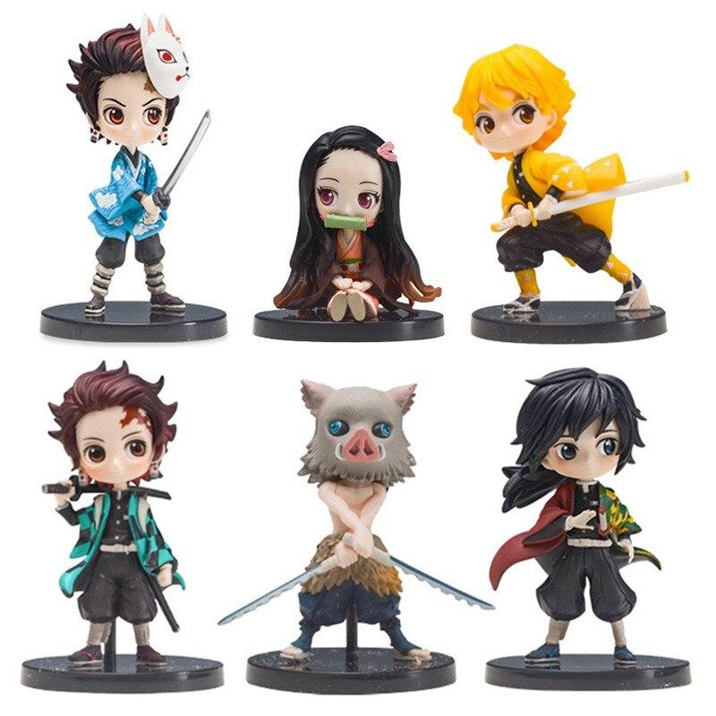 Anime Demon Slayer Figure Kimetsu No Yaiba Action Figure Kamado Tanjirou Nezuko PVC Model Toys Gifts Zenitsu Figurine Inosuke