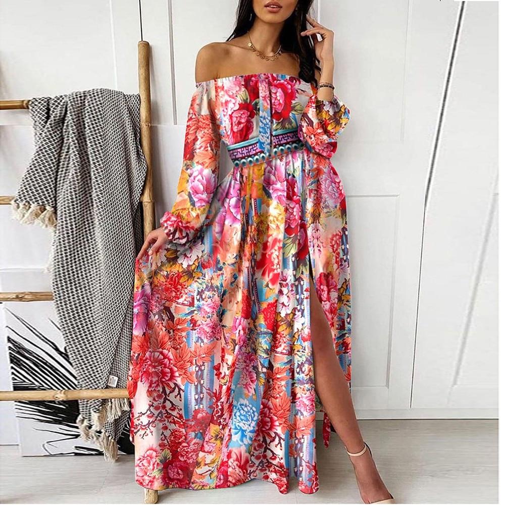 Women Boho Dress Female Floral Print Lantern Sleeve Long Dress 3 Colors Off Shoulder Split Bohemian Dress Femme